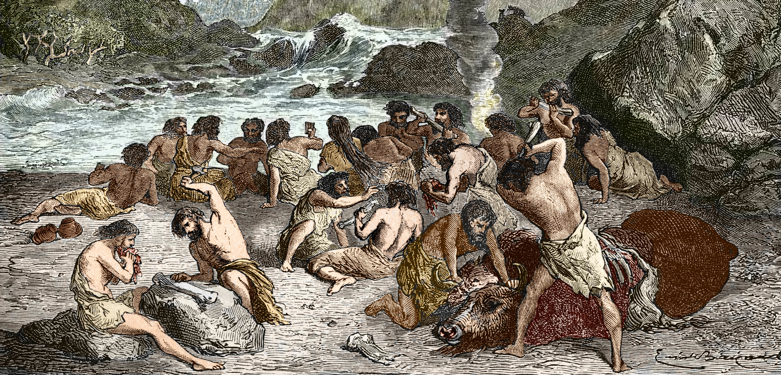 Illustration of a feast in the Upper Paleolithic era, between 18, 000 and 10, 000 BP, towards the end of the last ice age