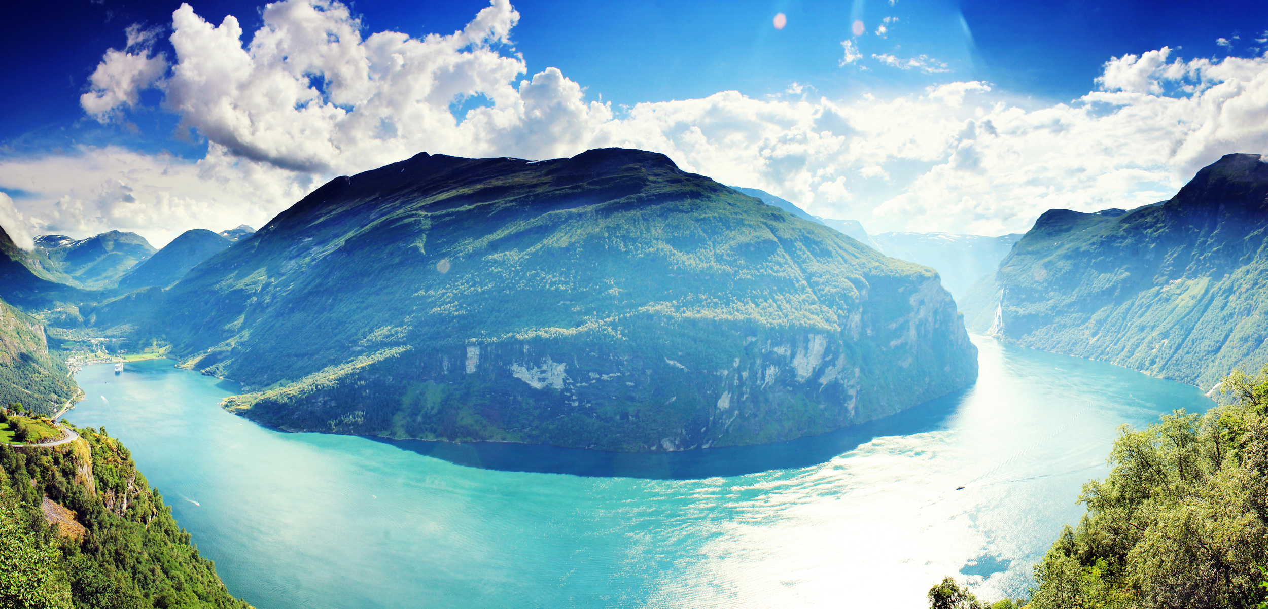 panoramic view of Geirangerfjord, Norway
