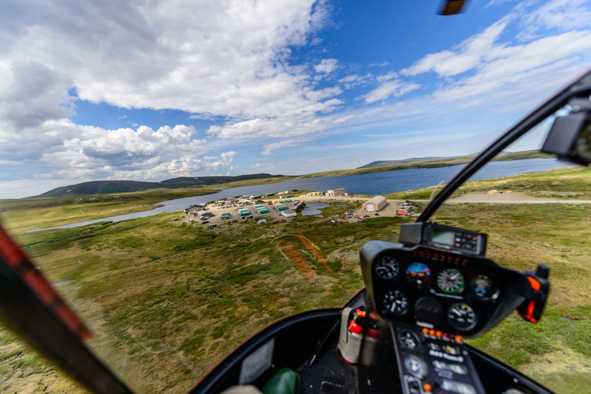 The Toolik Field Station on Alaska's North Slope, as seen from an approaching Robinson R44 Raven II helicopter.