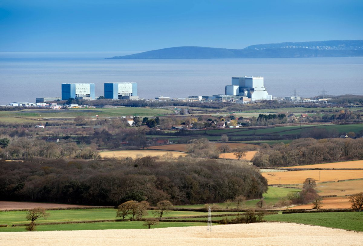The site of EDF Energy's Hinkley Point C nuclear power station, with existing twin reactors of Hinkley A and Hinkley B