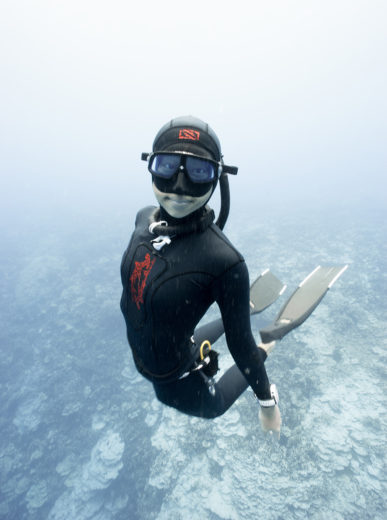 "Freediving is a key element of the spearfishing experience for many enthusiasts. ""Jessea"" Wenjie Lu, shown here, teaches the technique on O'ahu. Photo courtesy of jesseadiving.com"