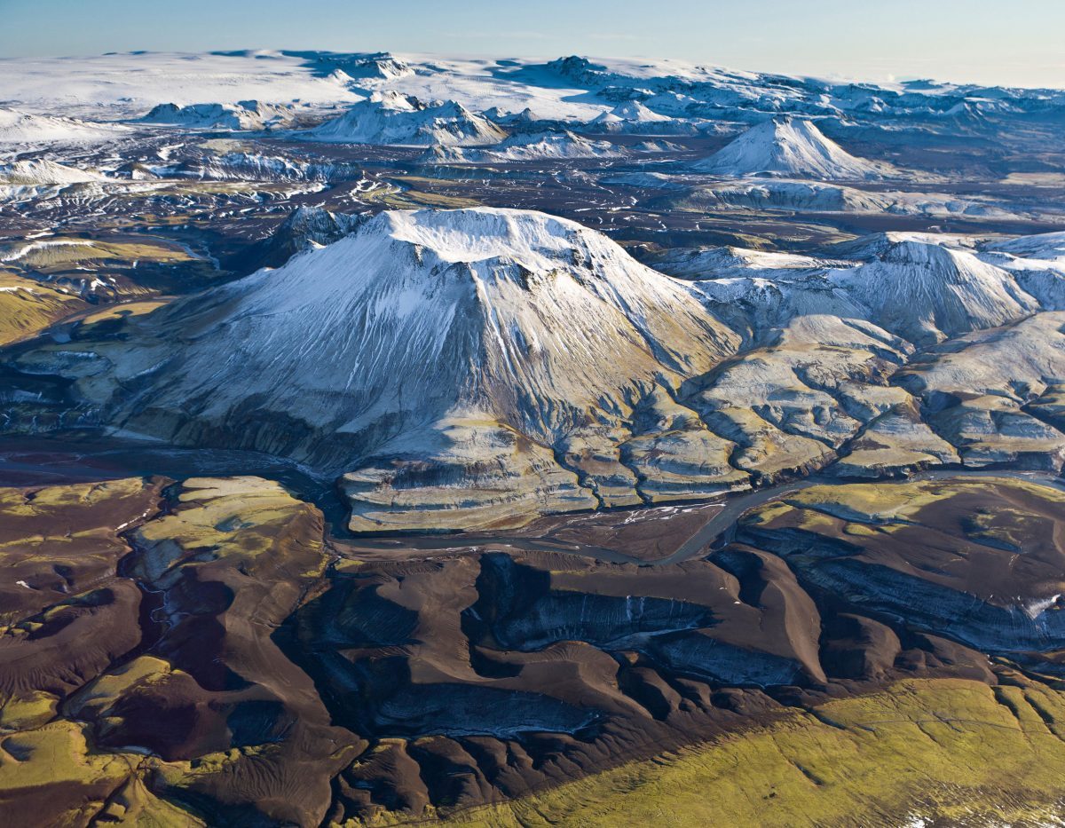 aerial photo of the volcano Katla