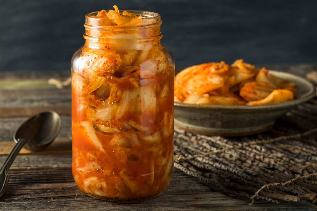 jar of homemade kimchi