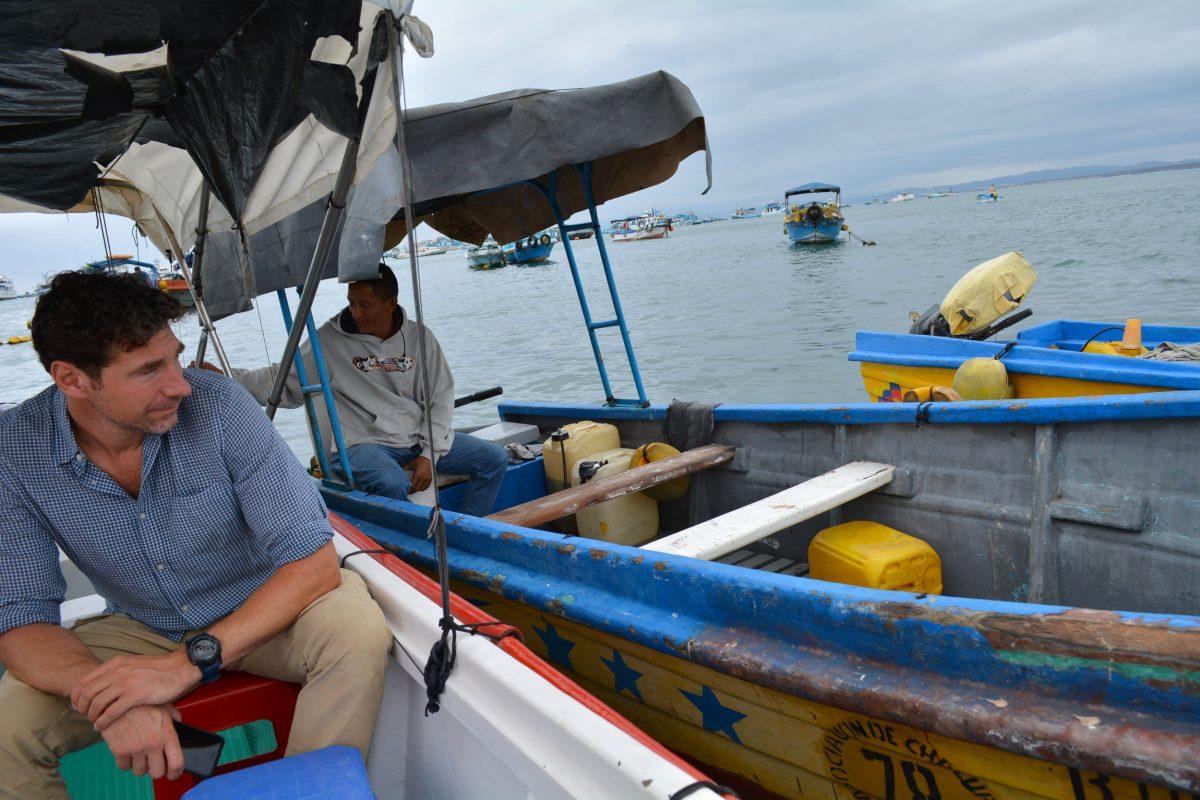 Detective Karsten von Hoesslin on a boat in Manta, Ecuador