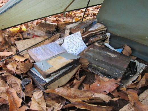 library tent used by squatters in the Kalalau Valley