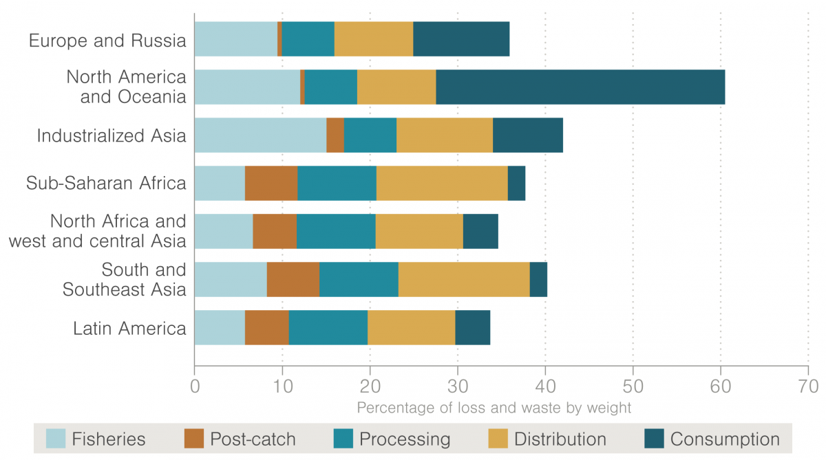 chart showing where seafood is wasted by region