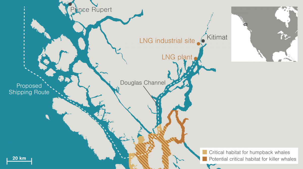 Map of Douglas Channel and Kitimat