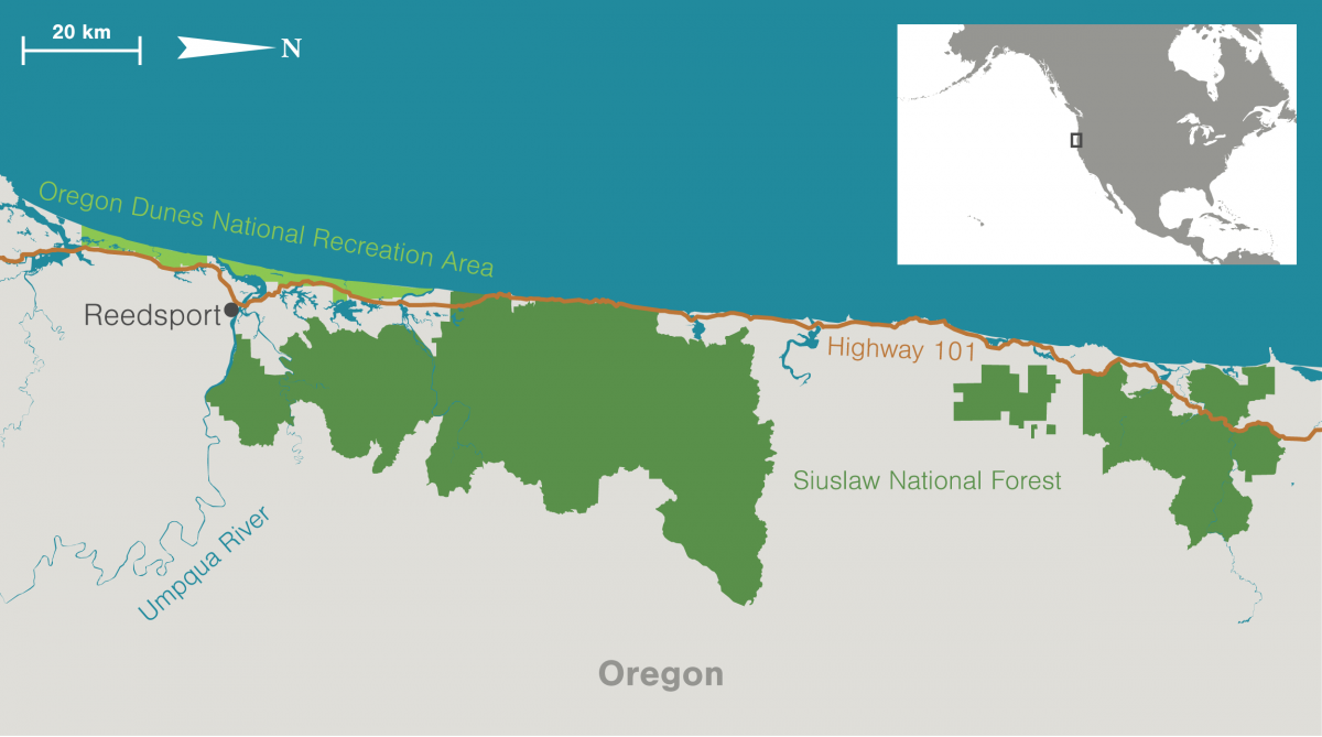 maps of Oregon Dunes National Recreation Area and surrounding area