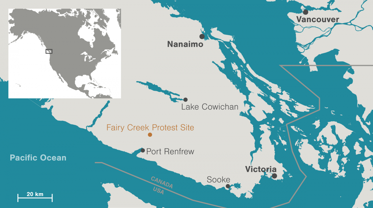 map of Fairy Creek protest site