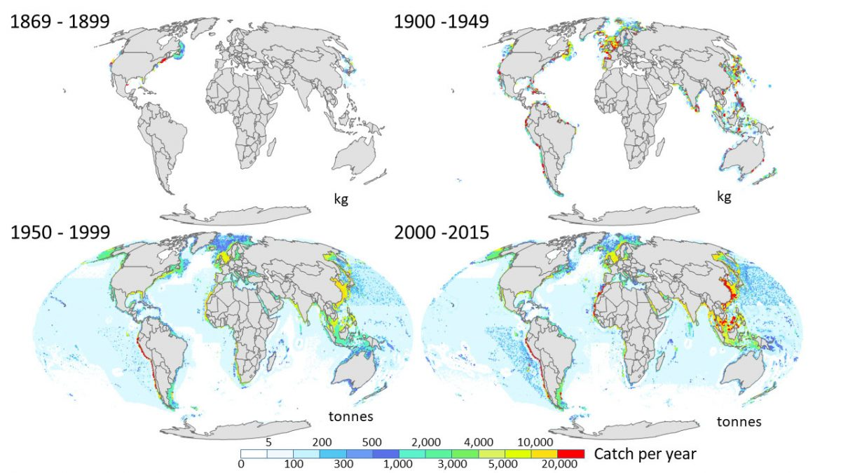 map showing global fishing over time