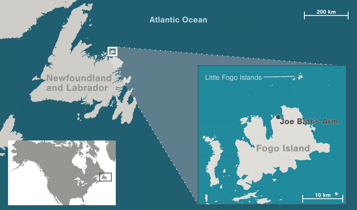 map showing Fogo Island, Newfoundland and Labrador