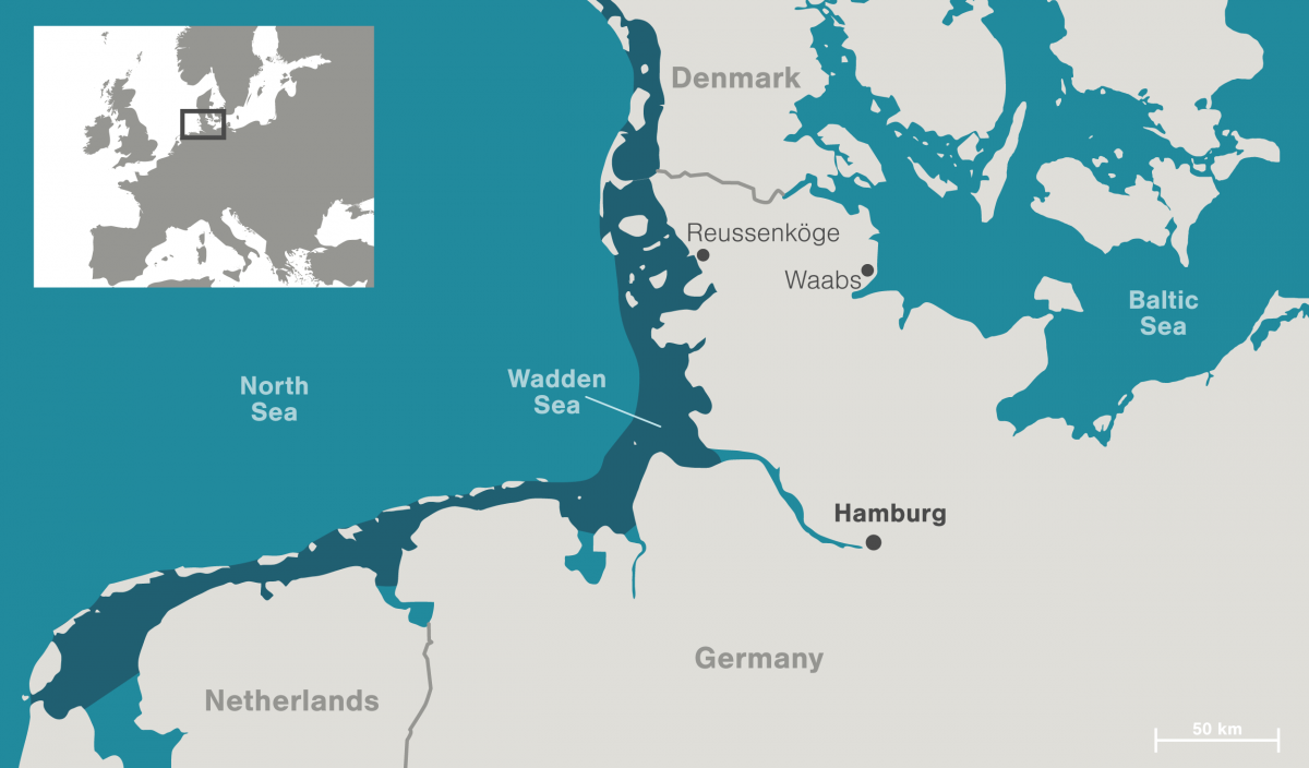 map of Waden Sea and northern Germany