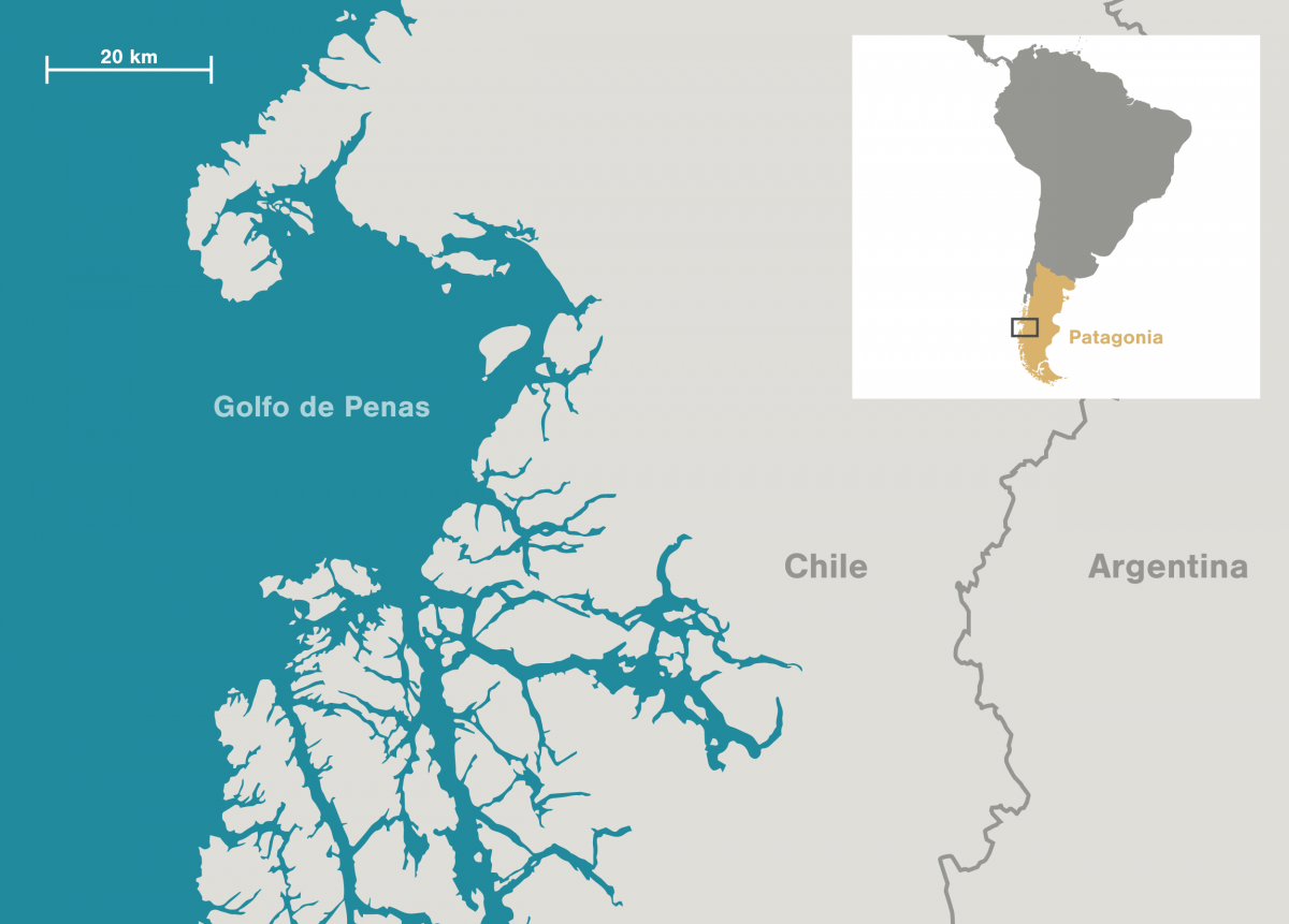 map of Golfo de Penas in Patagonia, Chile