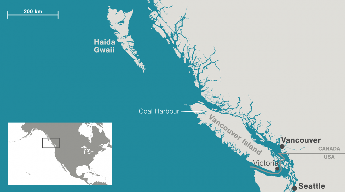 map showing location of Coal Harbour on Vancouver Island, BC