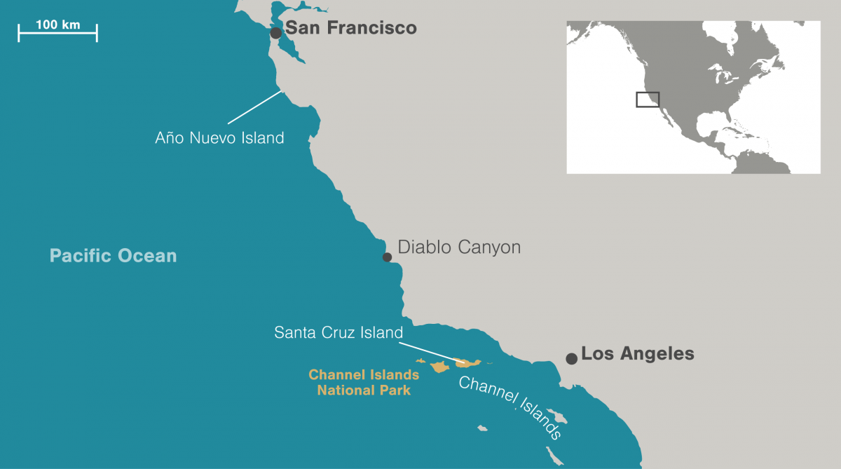 map of southern California coast and Channel Islands