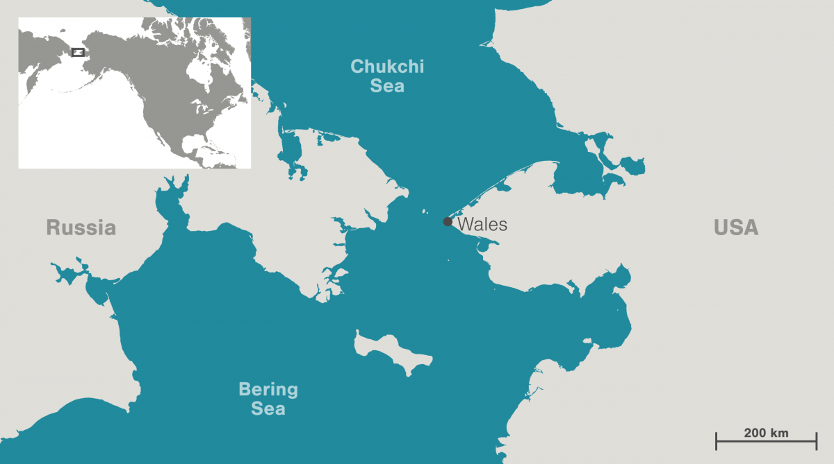 map showing location of Wales, Alaska