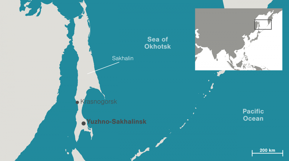 Map of Sakhalin, Russia