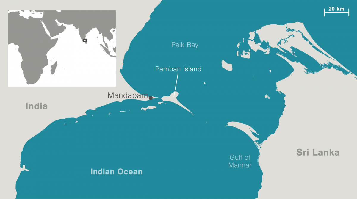 map of Pamban Island, India