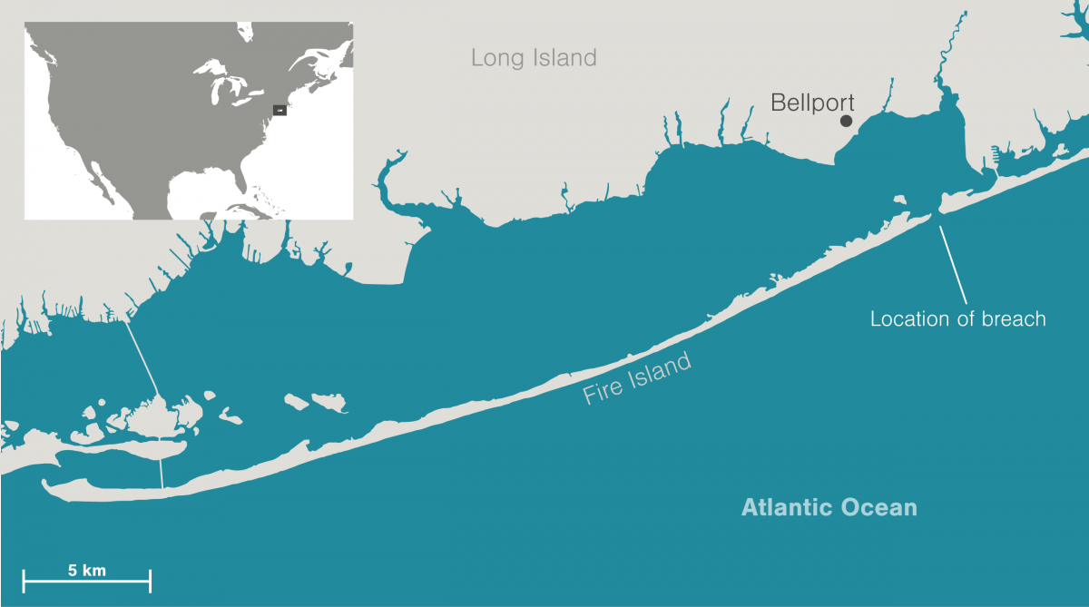 Map showing the breach in Fire Island