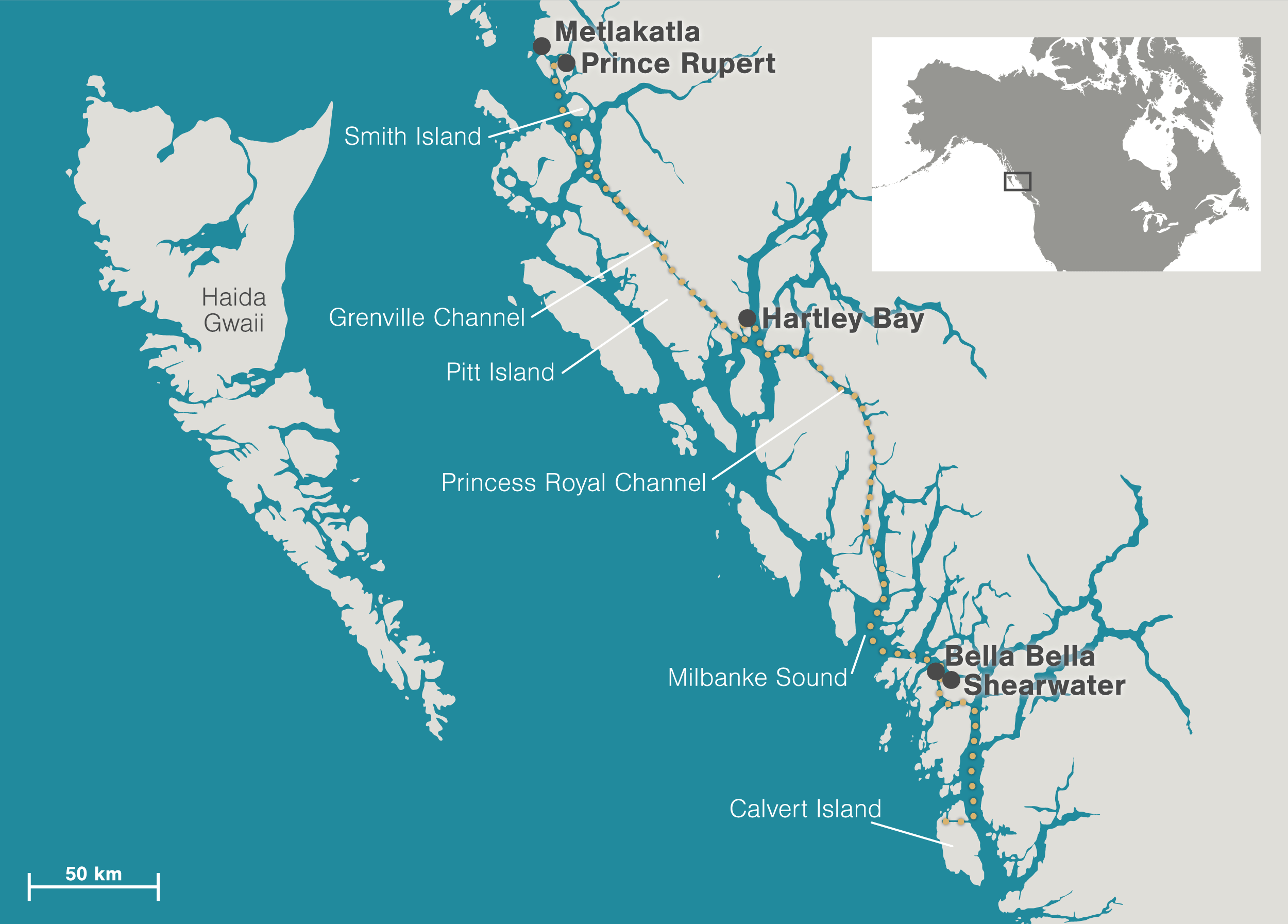 map showing the north and central coasts of British Columbia