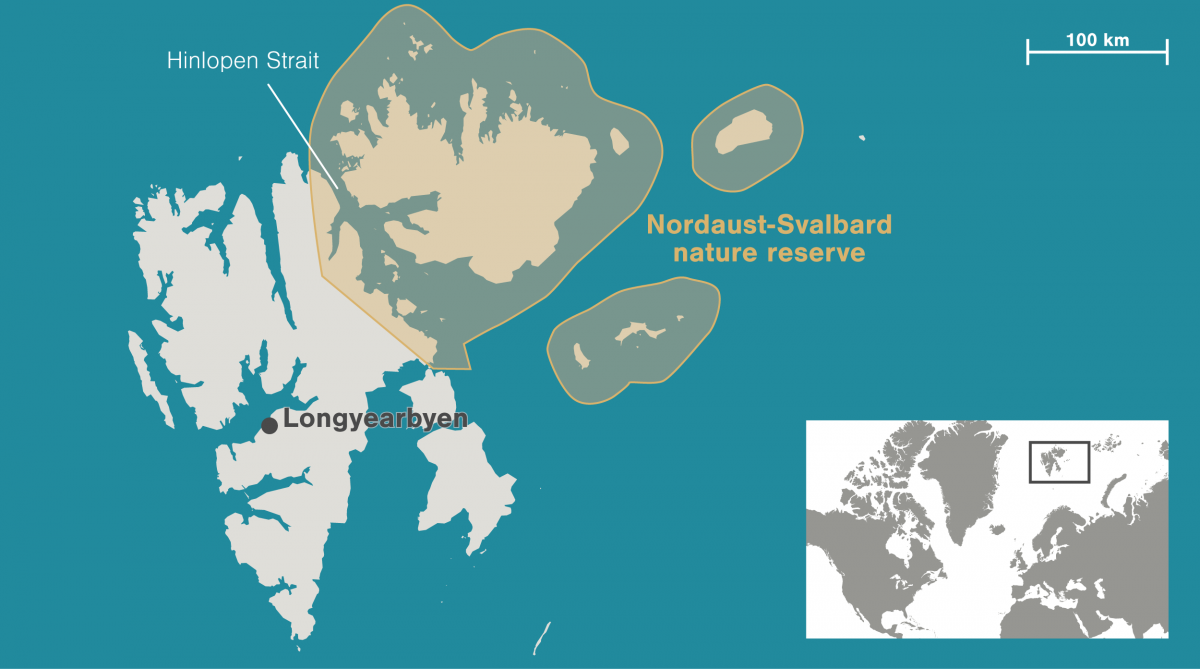 map of Nordaust-Svalbard nature reserve and site of the Northguider wreck