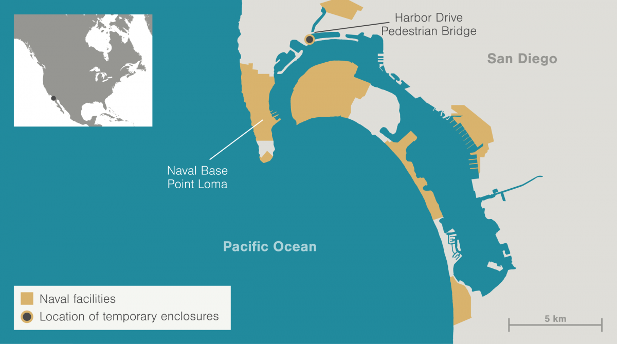 map showing naval facilities around San Diego
