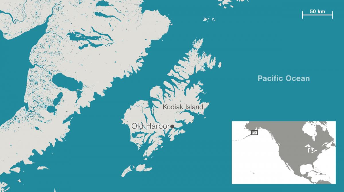 map showing location of Old Harbor, Alaska