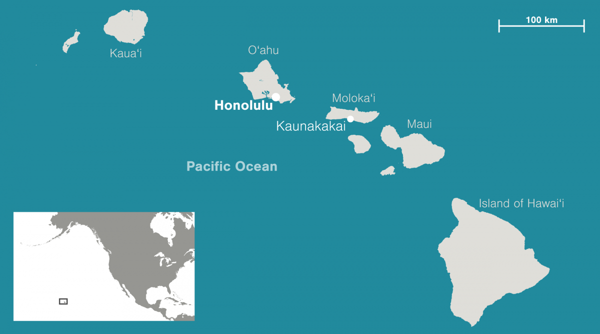 hap of Molokai and Hawaiian Islands