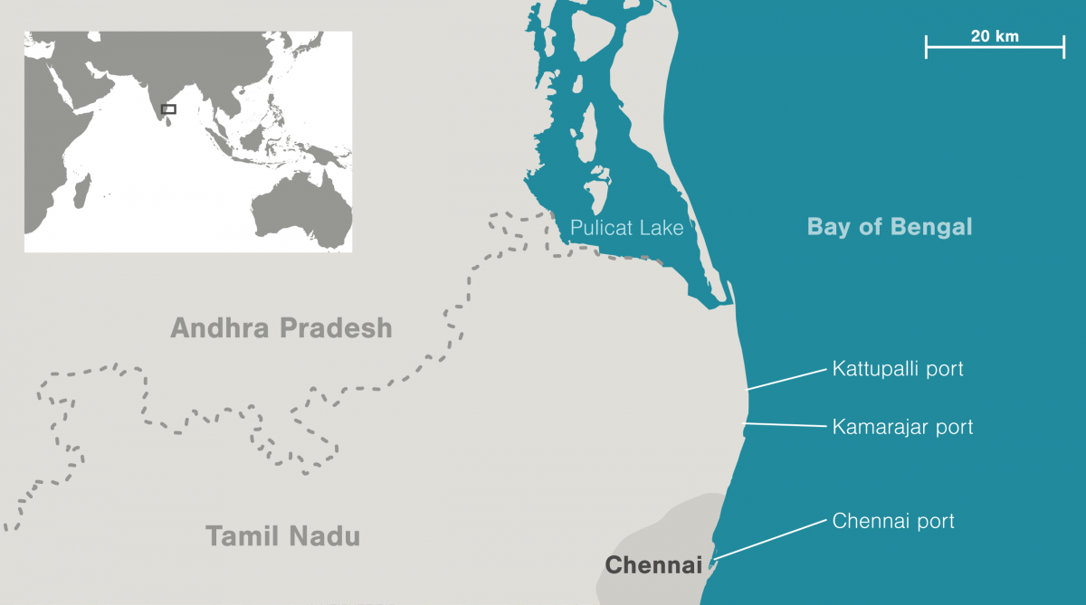 map of Pulicat Lake