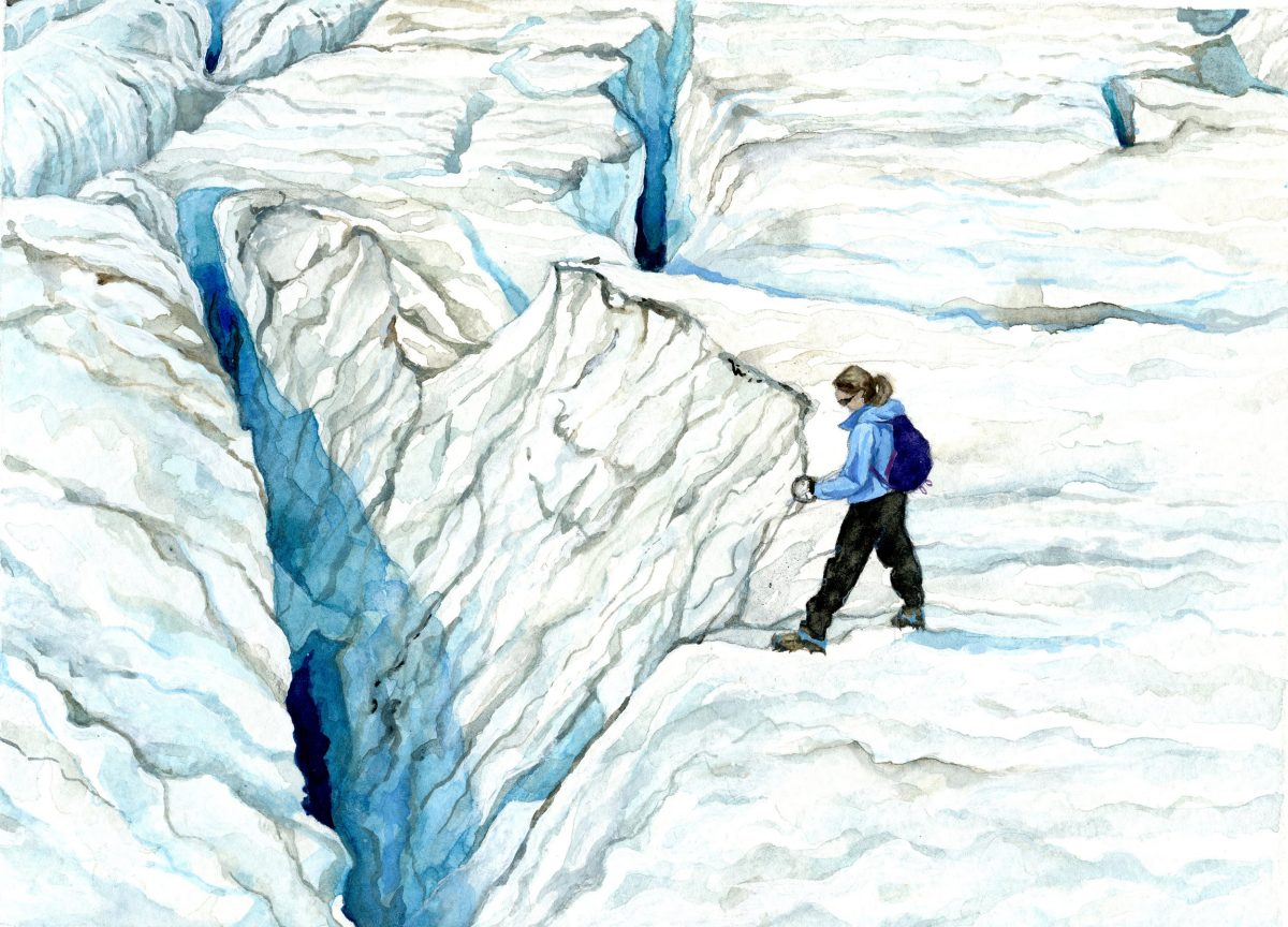 watercolor painting by Jill Pelto of herself measuring the depth of a glacier crevasse