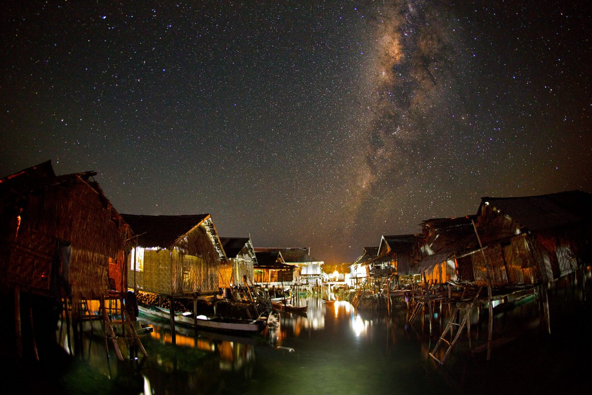 milky way above Sampela, Indonesia