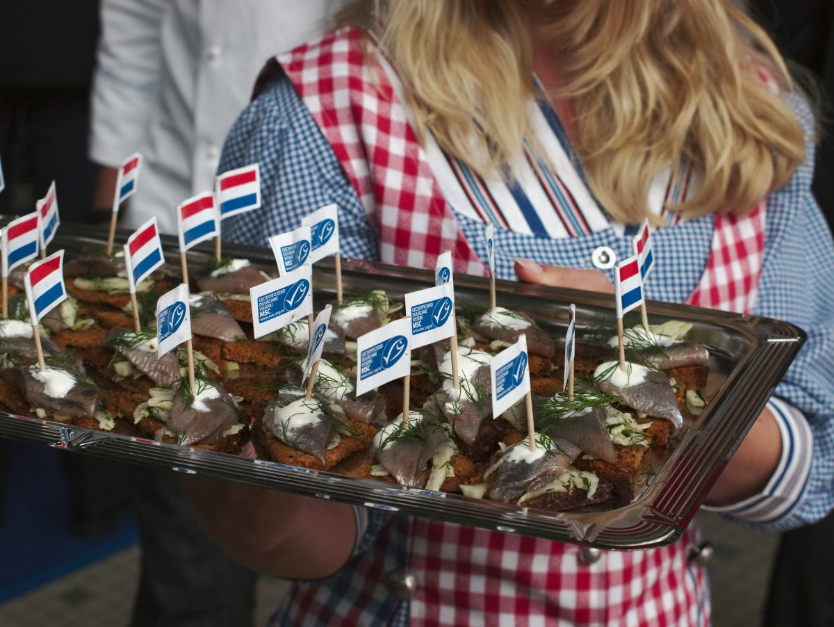The Marine Stewardship Council's blue fish logo can be found worldwide, including on this French party platter. Twelve percent of wild marine fish caught worldwide is certified by the organization. Photo by MSC/Nathalie Steins