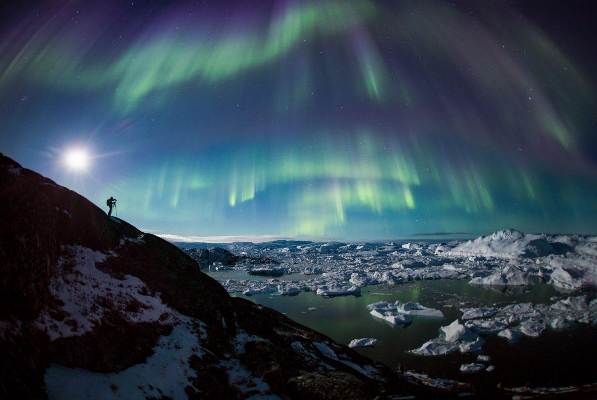 northern lights over Ilulissat Icefjord, Greenland