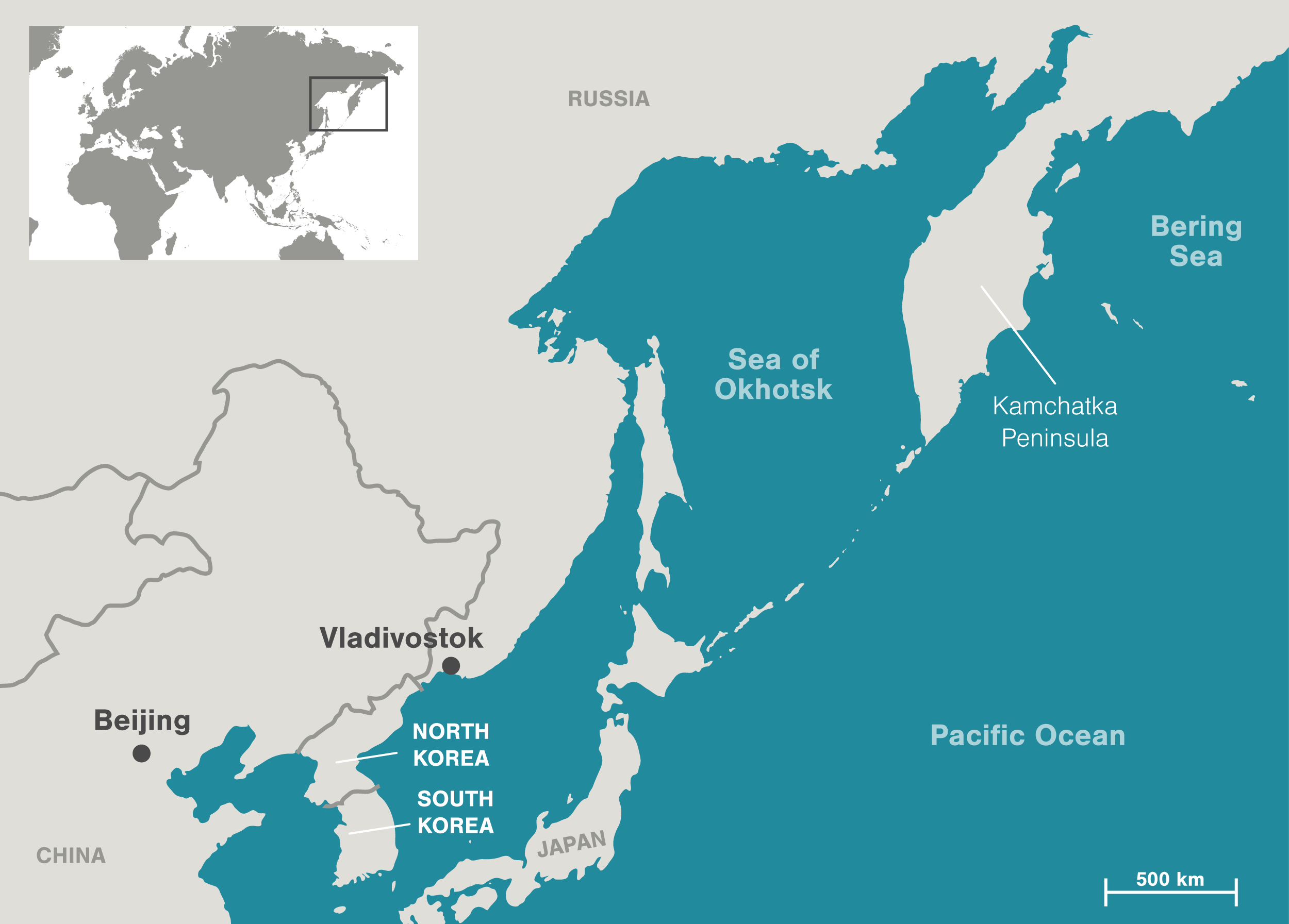 map of the Sea of Okhotsk and surrounding area