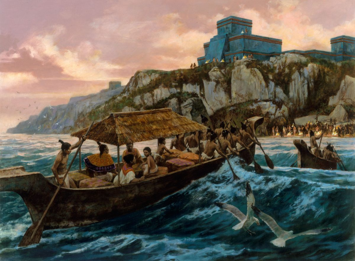Illustration of canoes approaching Tulum