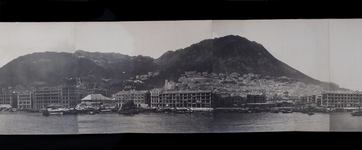 1900: By the turn of the 20th century, the British colony on Hong Kong Island was already starting to encroach on the slopes of Victoria Peak. The full panorama can be seen here. Photo courtesy of Cambridge University Library