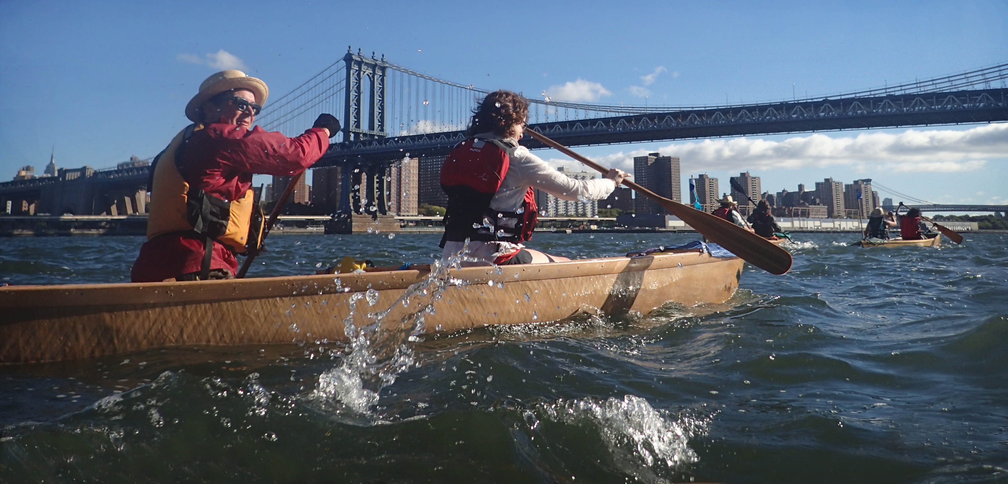 In 2014, members of Mare Liberum circumnavigated Manhattan in paper canoes to raise awareness of climate change. Photo by Sunita Prasad