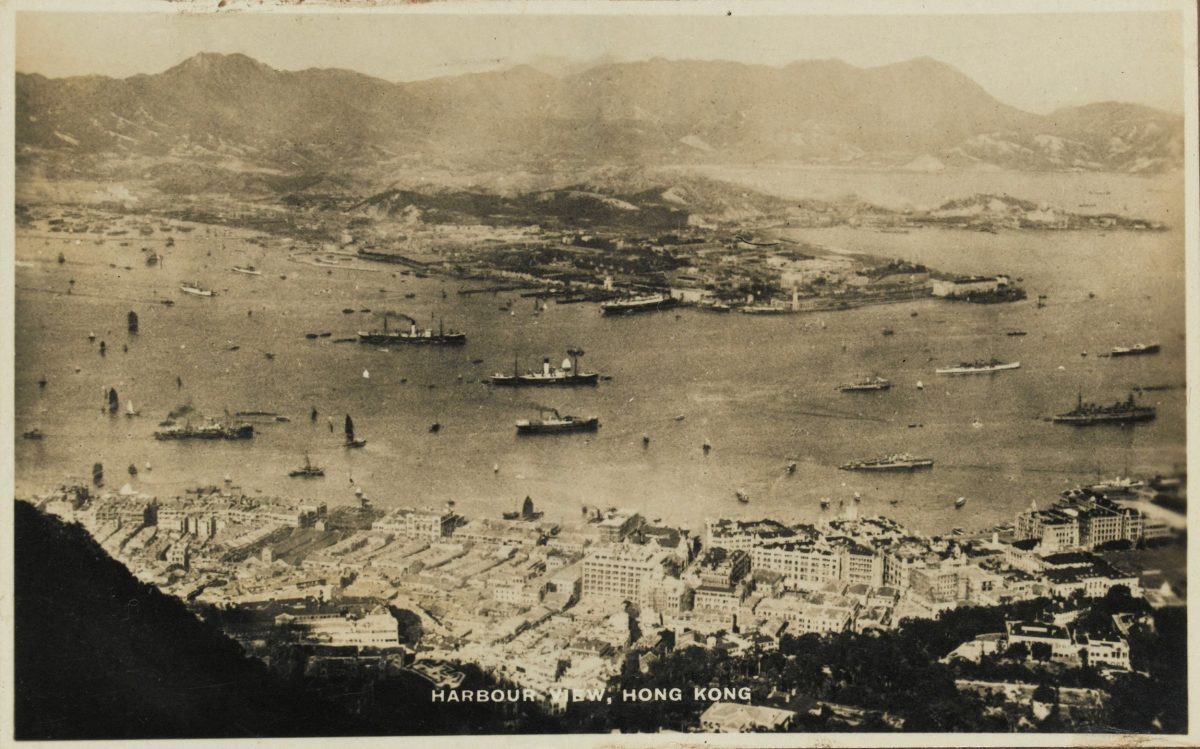 1940: This view from Victoria Peak shows Hong Kong's harbor, with Kowloon Peninsula in the background. Photo courtesy of the UK National Army Museum
