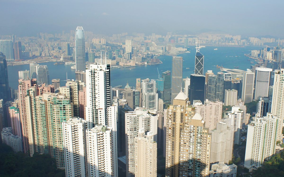 2012: The viewing platform on Victoria Peak, accessible by tram, affords today's tourists this famous vista over Hong Kong's Central District. Photo by Mark Garrison
