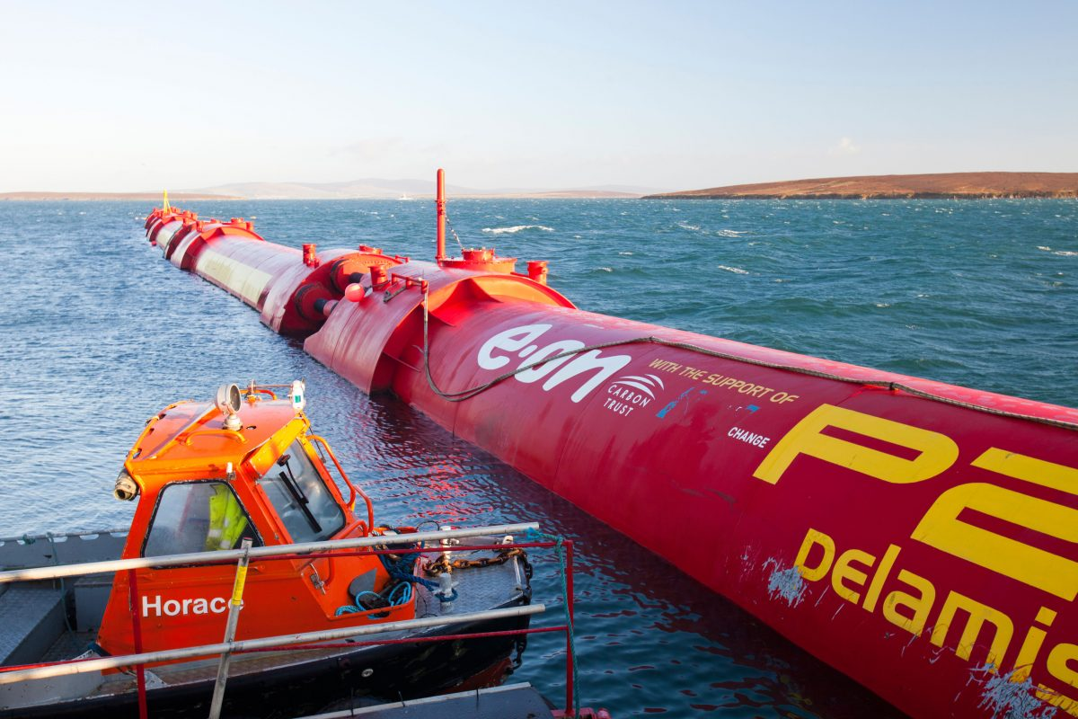 The Pelamis wave-energy generator, shown here at Orkney, Scotland, was so promising it drew the interest of the Chinese government. Photo by Ashley Cooper/Alamy Stock Photo