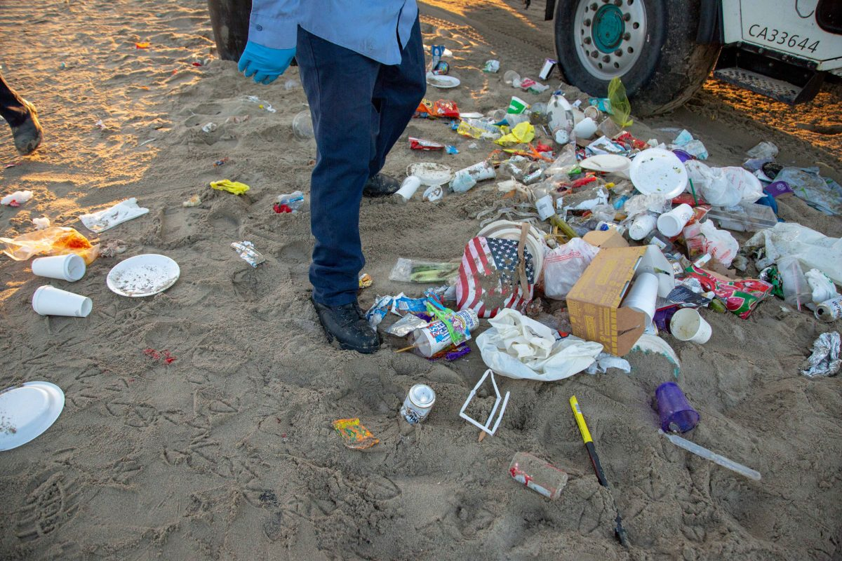 pile of garbage on Santa Monica Beach