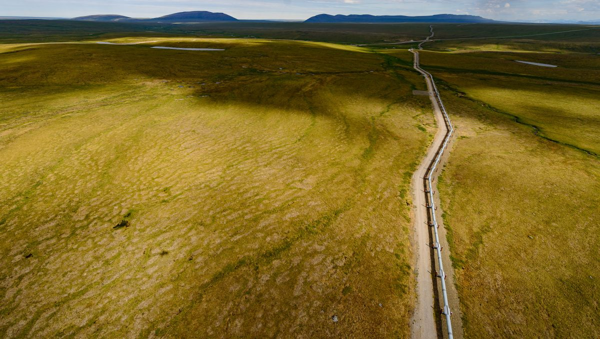 The Trans-Alaska Pipeline crosses the Toolik Lake Research Natural Area on the North Slope. In Alaska, one of the most serious impacts of climate change will be the billions of dollars in damage, already extensive, that thermal erosion deals to infrastructure.
