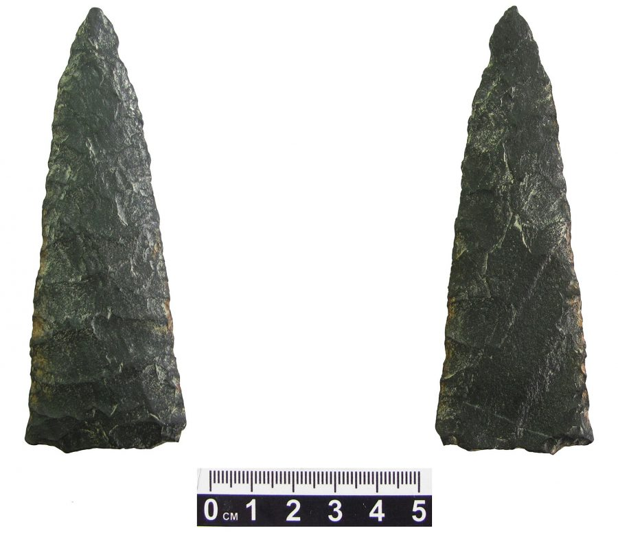 projectile point found at the bottom of Beagle Channel