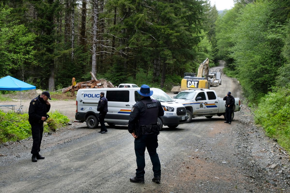 RCMP checkpoint on logging road