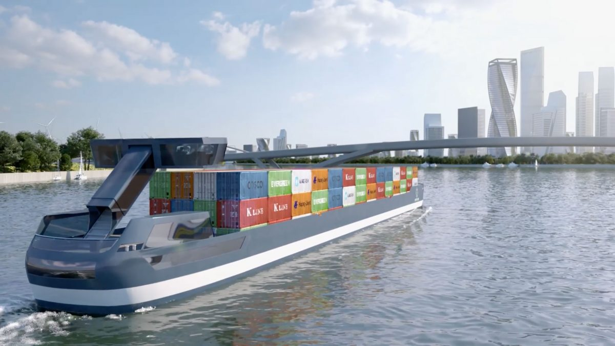 rendering of an electric cargo barge