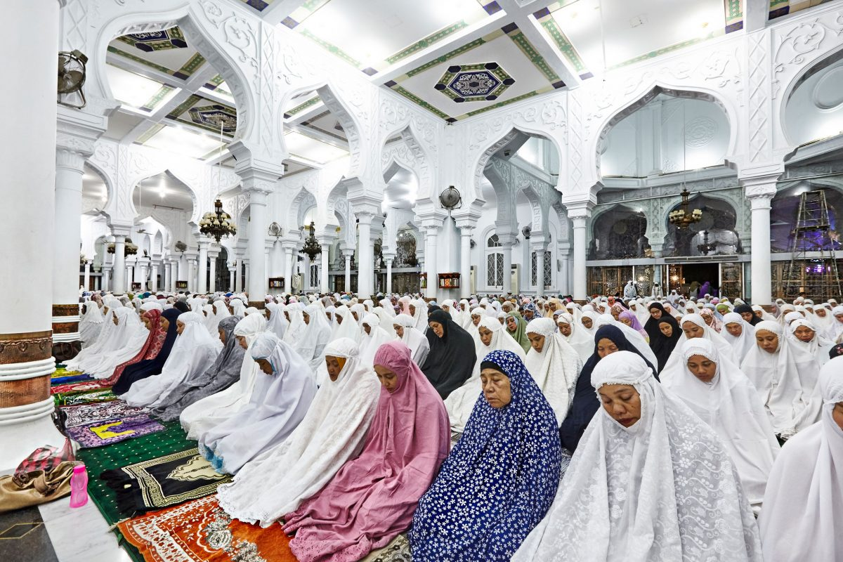 Devotees pray at the Baiturrahman Grand Mosque during Ramadan in Banda Aceh. The mosque survived the 2004 earthquake and tsunami and served as a temporary shelter.