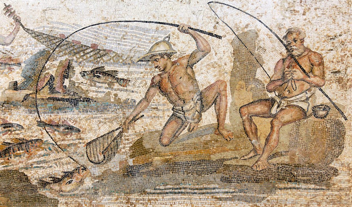 Roman mosaic of fishers