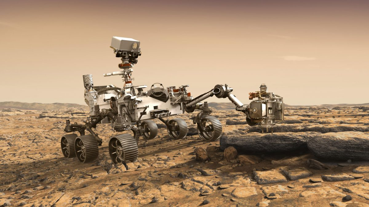 rendering of NASA's Mars 2020 rover