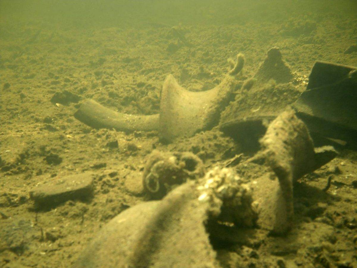Underwater photo of the remnants of salt pots