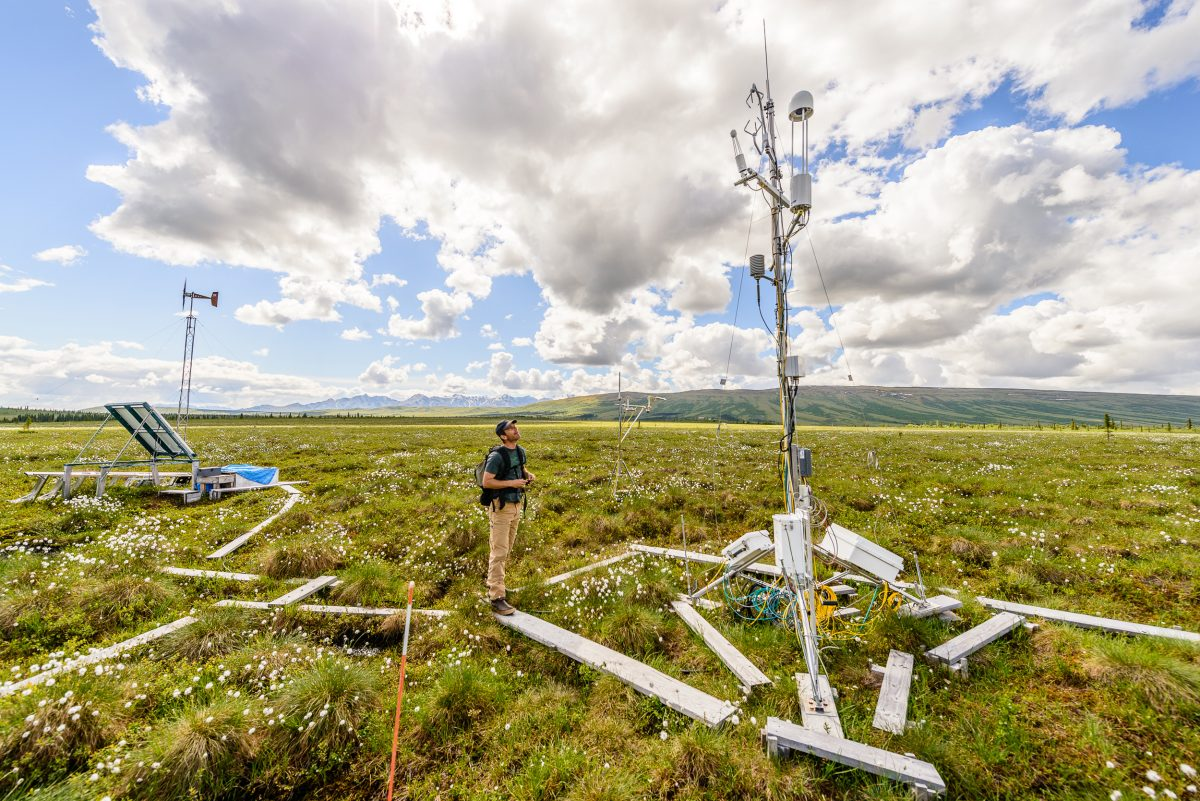 Ted Schuur with his permafrost research monitoring equipment at Eight Mile Lake study area, near Healey, Alaska. Schuur mimics conditions expected in the future to monitor how much carbon will be released in a warmer future Alaska.